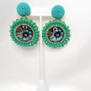 Glass Color Pattern Earrings